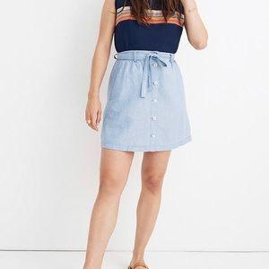 Madewell Denim Front Tie Mini Skirt